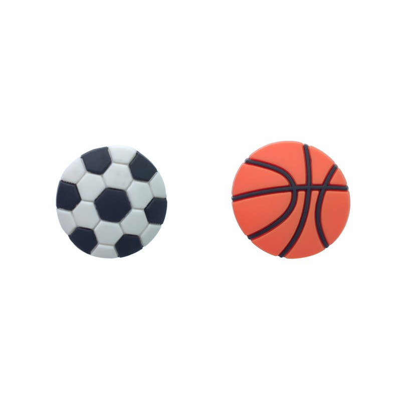 New 1pcs Basketball Football PVC Shoe Charms Sports Accessory Buckles Fit Bracelets Soccer Croc JIBZ Kids Best Gifts