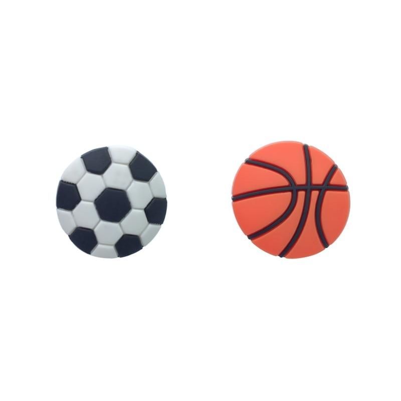New 1pcs Basketball Football PVC Shoe Charms Sports Accessory Buckles Fit Bracelets Soccer Croc JIBZ Kids Best Gifts