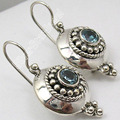 PURE Silver Collectible CUT BLUE Topas ETHNIC NICE Dangle Earrings 3.1 CM