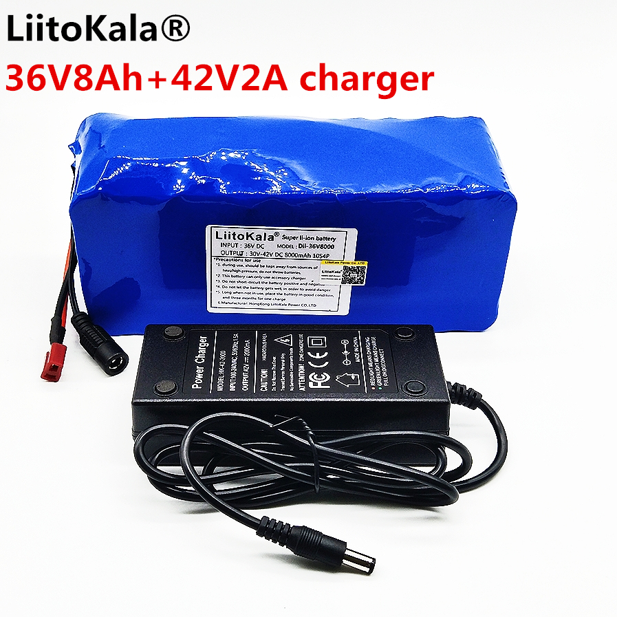 LiitoKala 36 V 8ah 500 W 18650 batería de litio 36 V 8AH bicicleta eléctrica con la caja del PVC para electricidad bicicleta 42 V 2A cargador