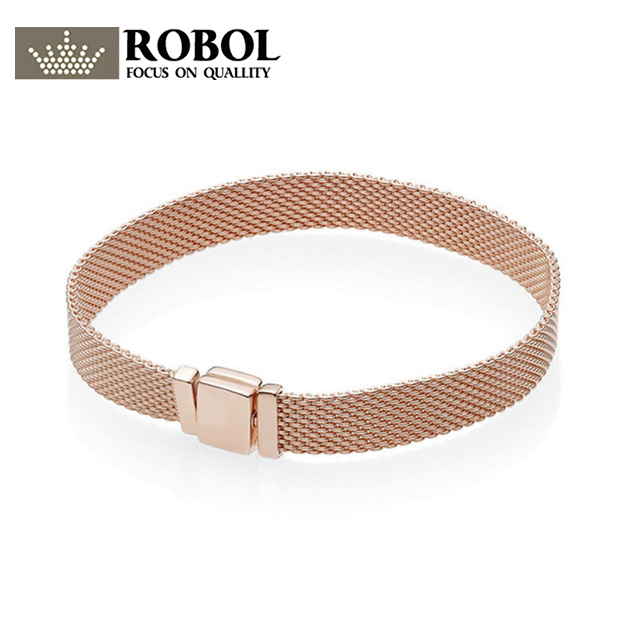 ROBOL 925 Sterling Silver Original PAN Bracelets Reflexions 587712 Jewelry ROSE GOLD Mesh Chain High Quality 1:1 Template zeg high quality pan 1 1 original copy of the logo heart bracelet chain chain link chain plated rose gold free package mail