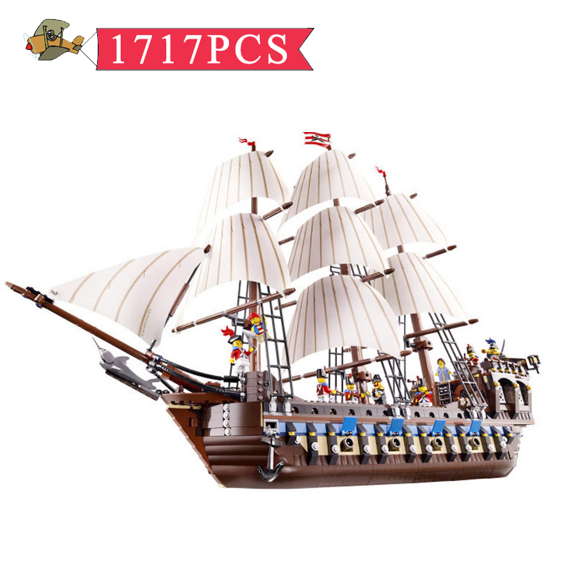 Model Building Blocks the Pirate Ship warships Assembled set DIY Classic Children Building Bricks Educational Toys Gift Bei Fen 1779pcs large building blocks sets pirate ship imperial warships compatible legoinglys caribbean pirate ship toys for children