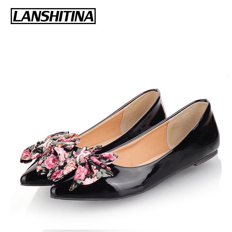 LANSHITINA Big Size 30-49 Women Flat Shoes Bow Cute Pointed Fashion Ladies Spring Summer Flats Chaussure Femme Boat Shoes G782 2017 spring summer new pointed flat flock bow women s shoes work shoes ballerina flats plus size 34 41