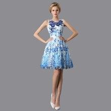 Vimans Vintage Scoop Ärmel Kurzarm Blau und Weiß Prom Kleider 2016 Lace Up Durchsichtig Party Kurzen Abendkleid LD409