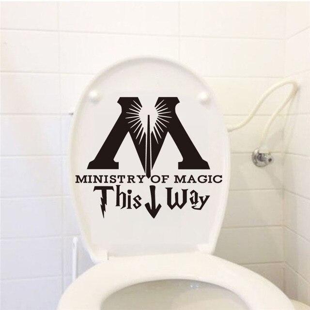 US $0.84 15% OFF|DCTOP Ministerium für Magie Diese Weise Wc Aufkleber  Lustige Diy Badezimmer Wand Aufkleber Wasserdichte Abnehmbare Poster  Aufkleber ...