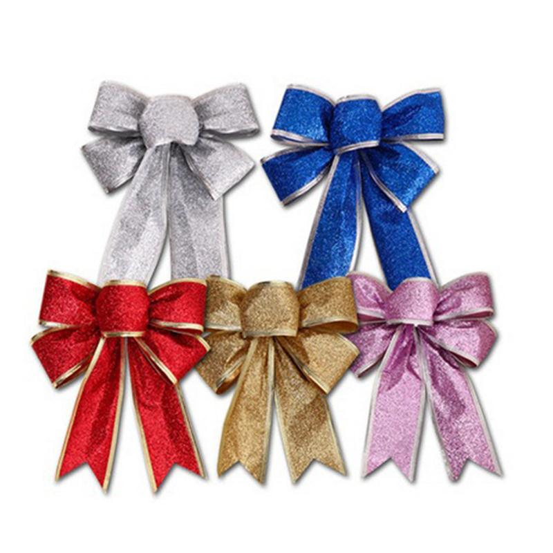 Silver Large Christmas Bows Glitter Gift 12 Ribbon Bow Tree Decorations Card And Party