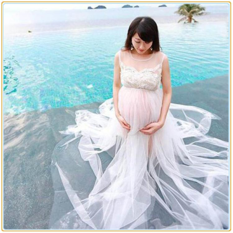 2017 Maternity Photography Props Fancy Pregnancy Dress Photo Shoot White Long Lace Dress Clothes for Pregnant Women Hot Sale white lace maternity photography props dresses elegant fancy pregnancy clothes for pregnant women photo shoot long dress