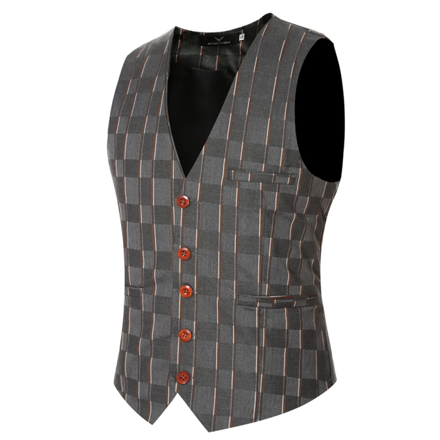Cowboy Wedding Suit Vests 2016 Mens Fashion Black Gray Prom Plaid Waistcoat Plus Size Sleeveless Jacket Lesuire Waist Coat 3XL