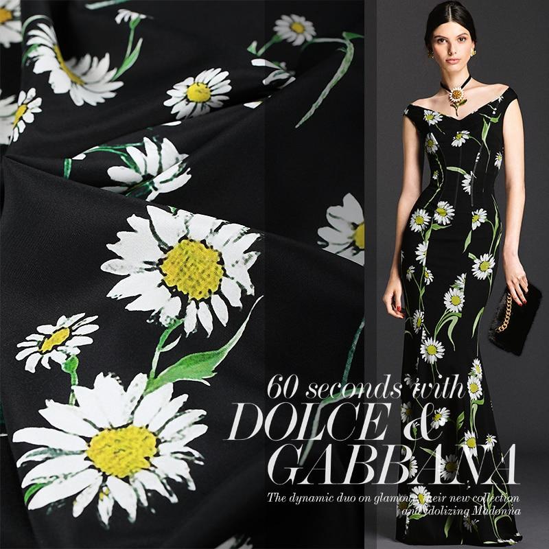 New Fashion Super Designs Silk Satin Black Botton Flowers Print
