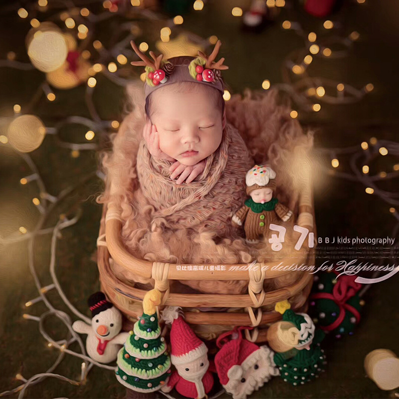 Newborn Photography Props Retro Woven Rattan Basket Baby Photo Shooting Props Container Frame Photo Studio (only The Basket )