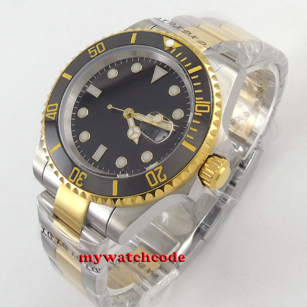 40mm Bliger black sterile dial ceramic bezel gold case automatic mens watch B13640mm Bliger black sterile dial ceramic bezel gold case automatic mens watch B136