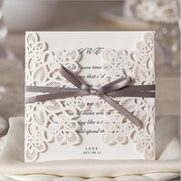 New Arrival Vertical Laser Cut Flower With Coffee Bowknot Wedding Invitations 50 Pcs Lot