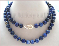 shipping 32 Natural 10mm Blue Round Lapis Lazuli Necklace
