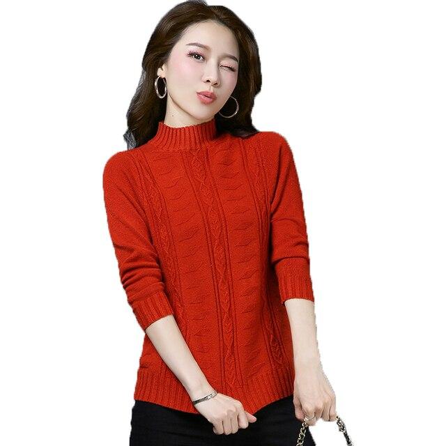 0a08c7fa2fa4 Woman Casual Turtleneck Pullover Sweater Red White Black Plain ...