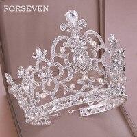 Queen Diadem Crystal Crown Wedding Hair Accessories Ornaments Crystal Pearl Tiara & Crown King Head Jewelry Bridal Tiaras