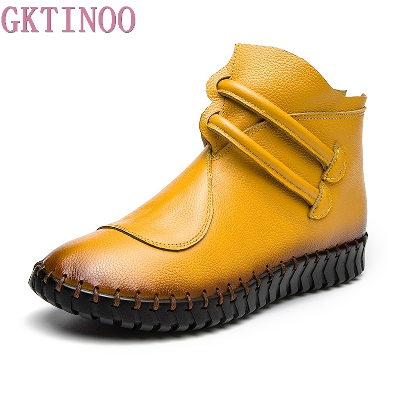 GKTINOO 2018 Autumn Winter Fashion Handmade Shoes For Women Genuine Leather Ankle Boots Vintage Flat Women Shoes Martin Boots nikbea brown ankle boots for women vintage flat boots 2016 winter boots handmade autumn shoes pu botas feminina outono inverno