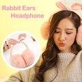 Lindo Conejo de Invierno Orejeras Oído Del Auricular de 3.5mm Jack Estéreo de Música auriculares Auricular Del Oído Caliente Para El Teléfono Móvil PC MP3 MP4 jugador
