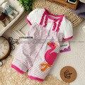 Kamacar verão estilo romper do bebê menina 100% algodão short-sleeve stripe romper a roupa do bebê recém-nascido