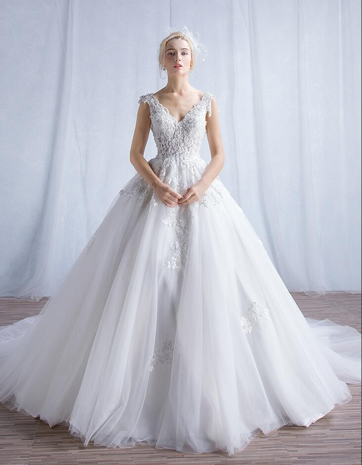 2017 Rustic Luxury Lace Tulle Wedding Dresses Turkey Ball Gown Sheer ...