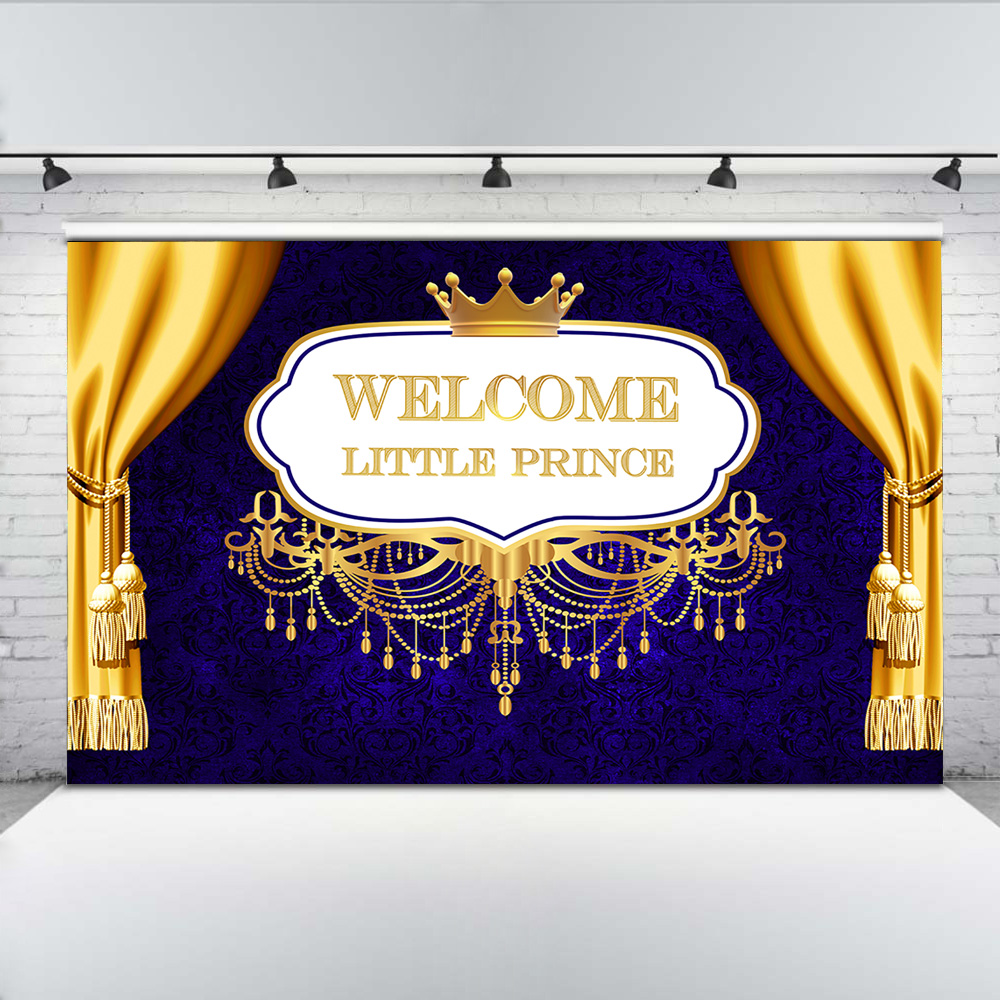 Welcome Little Prince Photo Background Newborn Baby Shower Backdrop Royal Golden Crown Blue Damask Backgrounds for Shoot in Background from Consumer Electronics