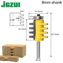 8 haste trilho reversível dedo do roteador, cola, cone tenão, trabalho em madeira, cortador, ferramentas elétricas, cortador de madeira