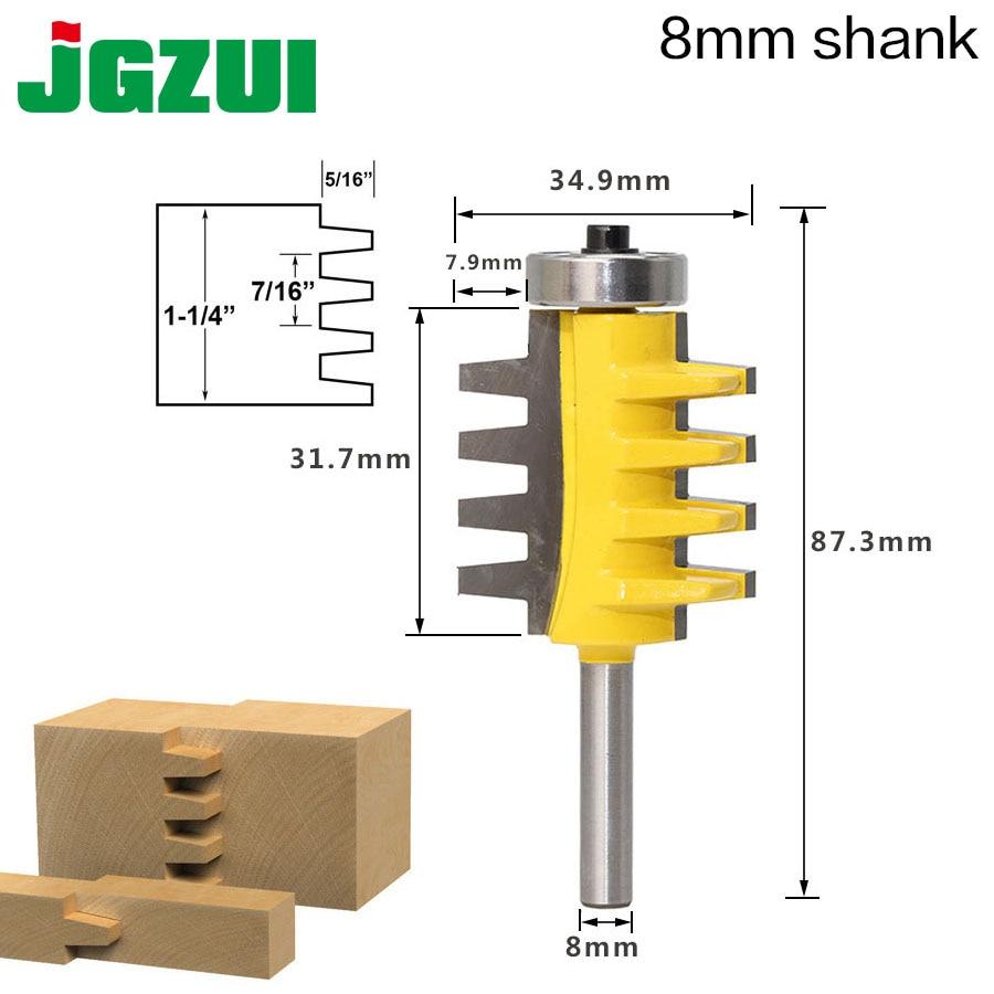 8 vástago riel Reversible Finger Joint pegamento Router Bit cono Tenon cortador de madera herramientas eléctricas cortador de madera