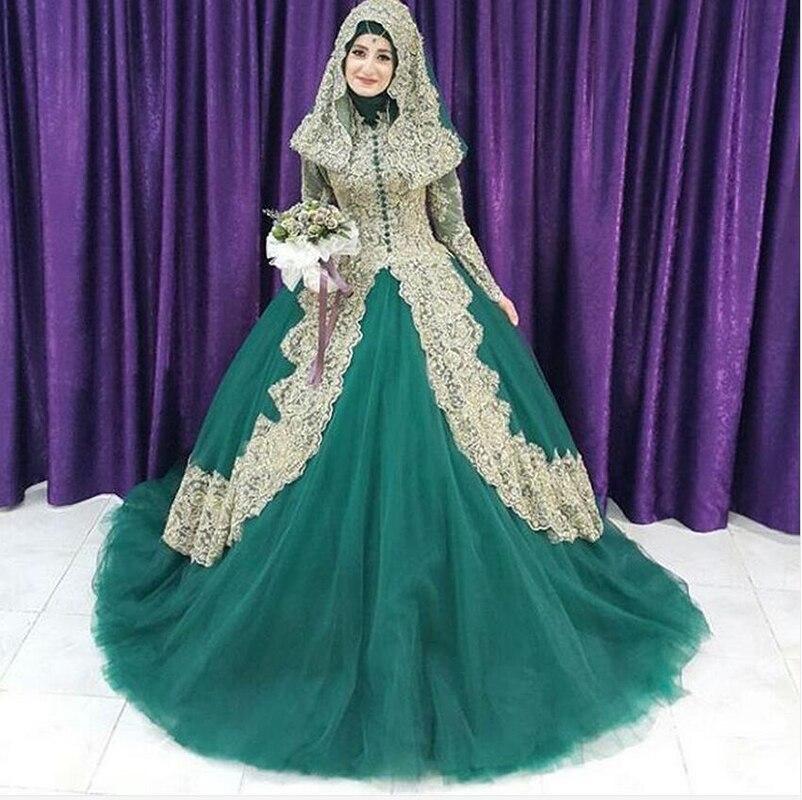 Turkish islamic women green wedding dress 2016 couture ball gown turkish islamic women green wedding dress 2016 couture ball gown tulle long sleeve gold applique hijab dubai kaftan muslim in wedding dresses from weddings junglespirit Images