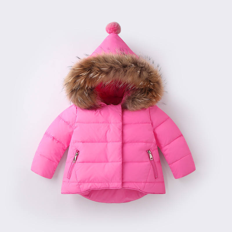 2017 New Cute Gilrs Down Coat Winter Warm Thick Solid Down Jacket Kids Clothing Hooded Fashion Zipper Pocket Children Clothes women winter coat leisure big yards hooded fur collar jacket thick warm cotton parkas new style female students overcoat ok238
