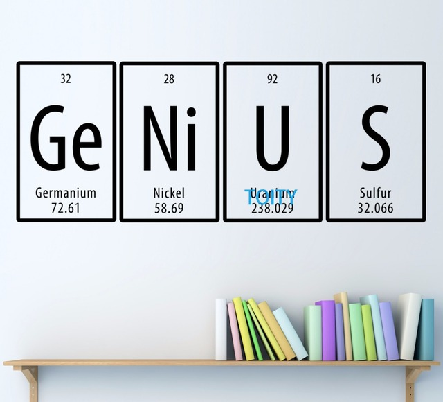 Genius quote periodic table wall vinyl decal room sticker decor genius quote periodic table wall vinyl decal room sticker decor art mural h50cm x w125cm urtaz Images