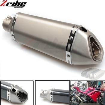 Motorcycle Exhaust Universal Muffler Motorbike 51mm Inlet Exhaust For Kawasaki ZX7R ZX9 ZX1100 ZRX1100 ZXR400 ZZR Z750S Zx1400