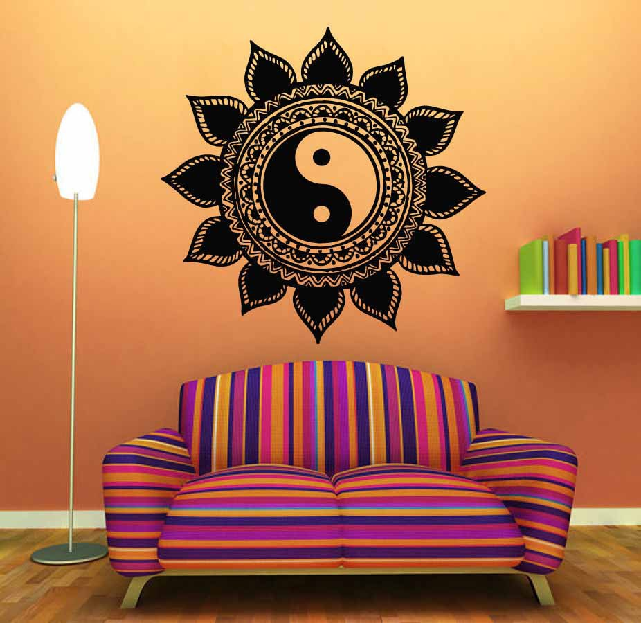Mandala Wall Sticker Home Decal Buddha Yin Yang Floral Yoga Meditation Vinyl Art Mural Decor Decoration D175 In Stickers From