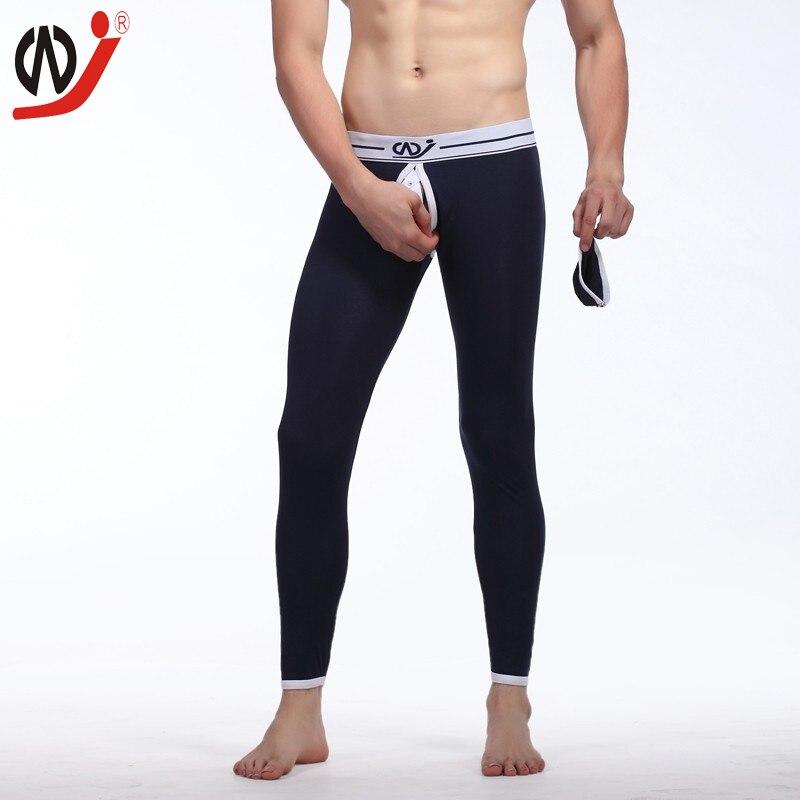 Wangjiang Mężczyzn Bielizna Termiczna Wygodne Sexy Long John Ciepłe Spodnie Legginsy Mężczyźni Penis Torba Otwarta Zdrowe Kalesony Gay Szalony projekt