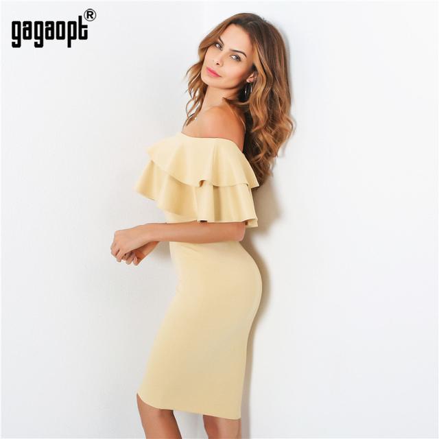 Gagaopt Sexy Off Shoulder Ruffle Dress Summer Dress Slash Neck Pink Black Party Dresses Knee-length Robe Femme Ete 2017