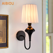 AIBIOU Romantic LED Wall Lights White Wall Sconce For Foyer E27 black Wall Lamp with Fabric Lampshade Metal Reading Light