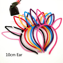 1 PC Cartoon Plush Pure Color Rabbit Ear Hoop Women Hair Head Hairband Kids Accessories Girls hoop WEIJUN