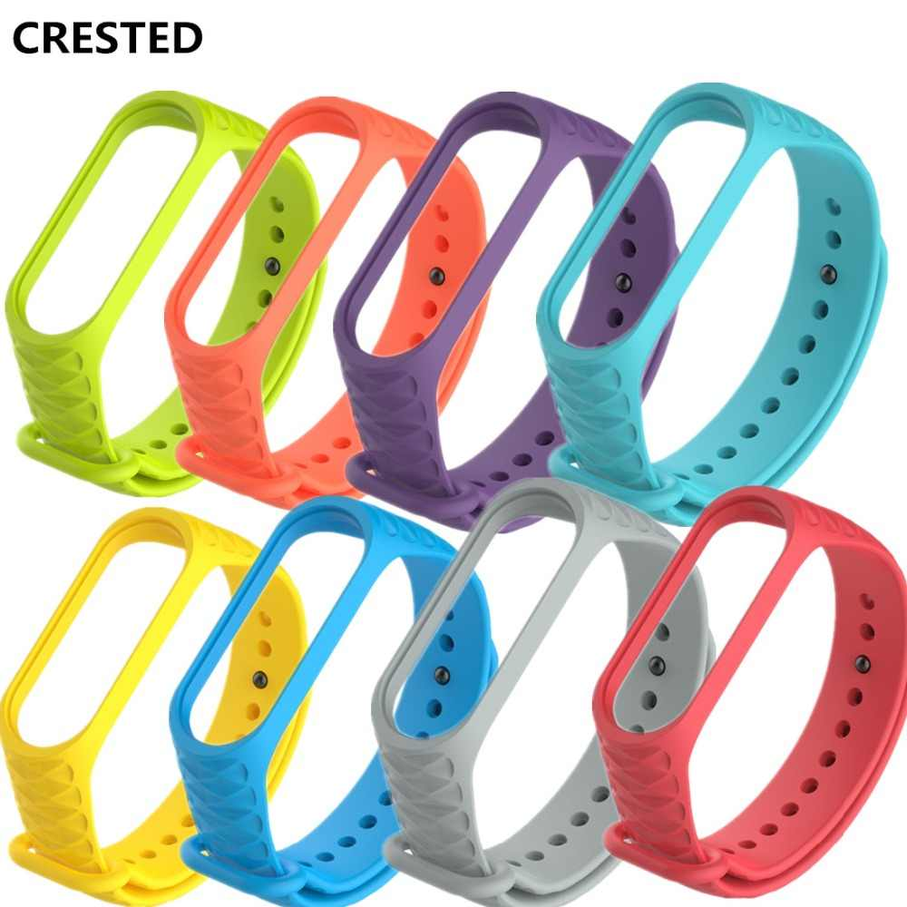 CRESTED Silicone watch strap For Xiaomi Mi Band 3 Bracelet wristband Miband 3 Colorful sport Smart watchBand  band3 Accessories