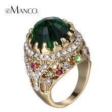 Verde anillos cristalinos para las mujeres de metal crystal rhinestone de oro anillo de 2016 anillo de dedo de la aleación de zinc estilo de la corte de lujo bijoux eManco