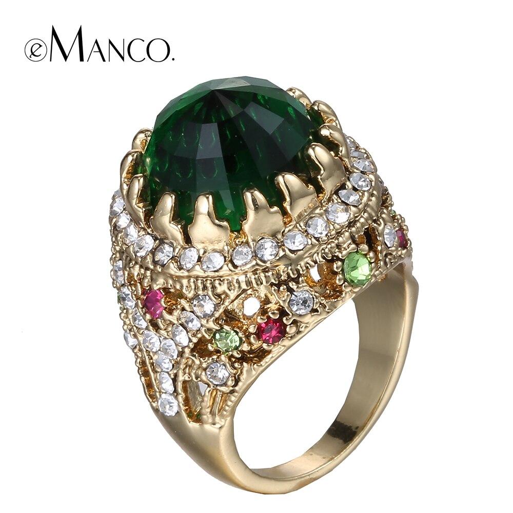 Prix pour Vert cristal anneaux pour femmes en métal cristal strass bague en or 2016 cour style de luxe en alliage de zinc bague bijoux eManco