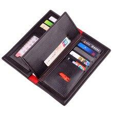 PU Leather Purse Real Brand Men Bifold Purse Long Designer Cash Coin Pocket Card Holder Clutch Bag Vintage Male Wallet