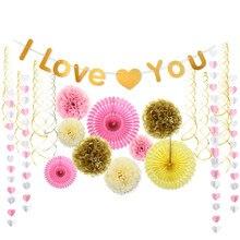 8f225973 14 piezas Rosa dulce amor decoración de la boda flor de papel bandera  colgante remolinos guirnalda