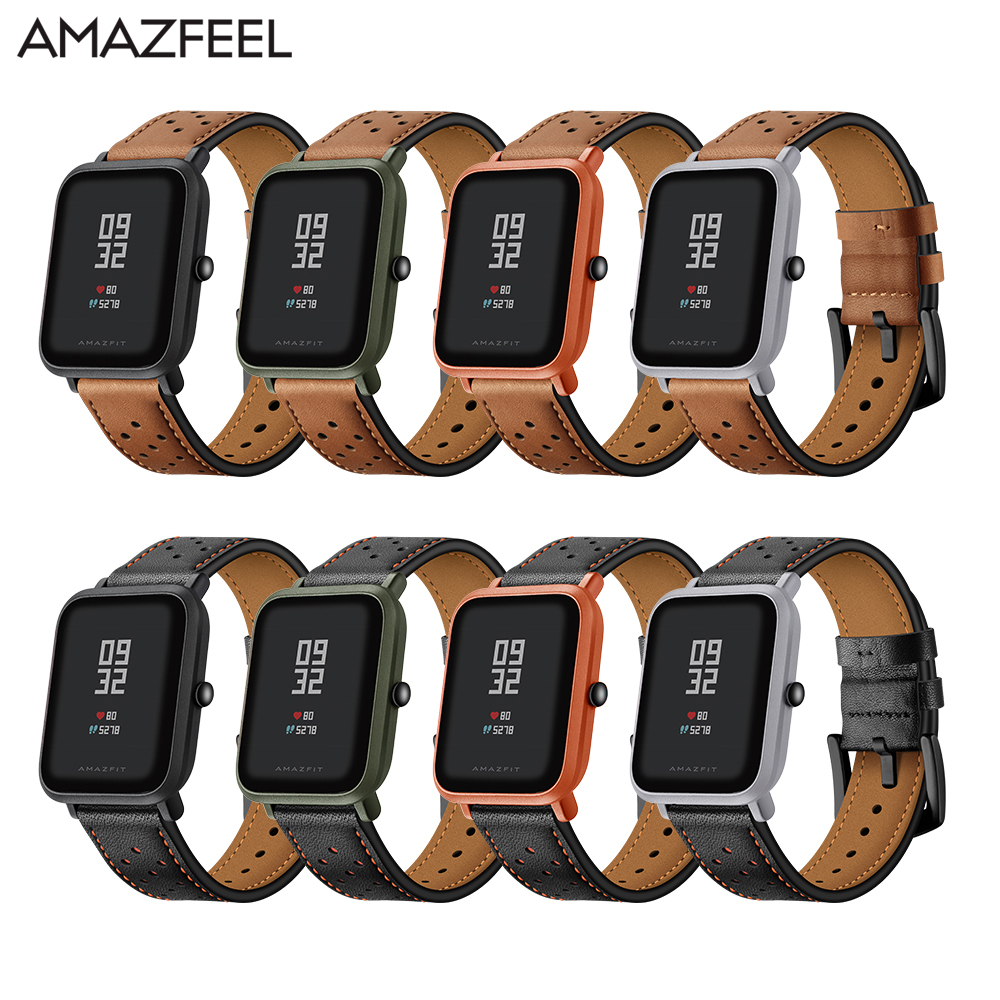Amazfit Bip Band Leather for Original Xiaomi Huami Amazfit Smart Watch Youth Edition Huami Bip BIT Lite Watch Band Pulsera 20mm 3in1 metal strap double color band for original xiaomi huami amazfit bip bit pace lite youth smart watch screen protector film