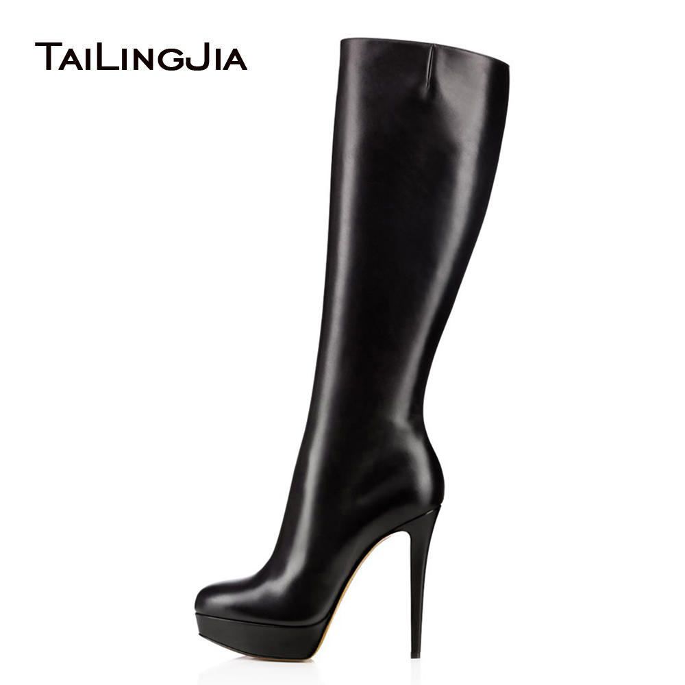 Black Round Toe Platform Knee High Boots for Women High Heel Winter Shoes Ladies Stiletto Heel Long Boots with Zipper 2018 meotina knee high boots winter platform high heel boots pointed toe fashion shoes crystal flower long boots zipper black 42 43