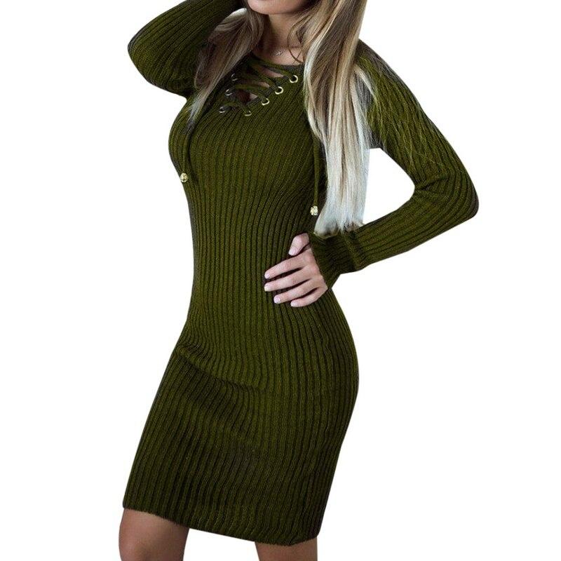 LASPERAL 2017 Autumn Winter Sexy V-Neck Bandage Women Knitted Sweater Dress Vestidos Femme Casual Long Sleeve Mini Bodycon Dress