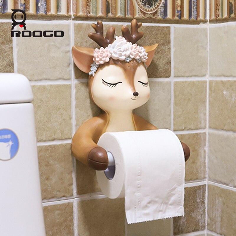 Roogo Bonito Cabeça de Veado Decoração De Papel Suporte de Papel Higiênico Do Banheiro Cerâmica Dispensador de Toalha de Papel Higiênico Criativo Estilo Americano