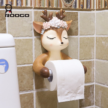 Roogo Cute Deer Head Paper Holder Toilet Ceramic Bathroom Decoration Dispenser Creative Towel American Style