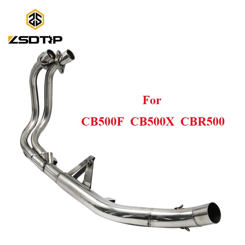 ZSDTRP Motorcycl acier inoxydable avant moyen système de tuyau de lien d'échappement se connecter pour Honda CB500F/CB500X/CBR500