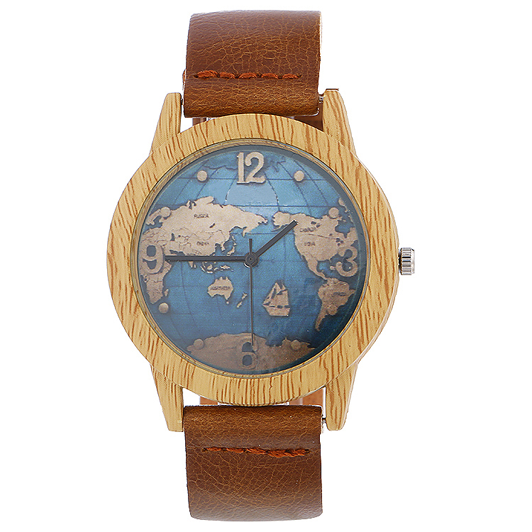 Unisex New Fashion Simulation Wooden Wristwatch With Leather Casual Men Cowhide Leather Band Lovers Wood Watches Women Map Watch