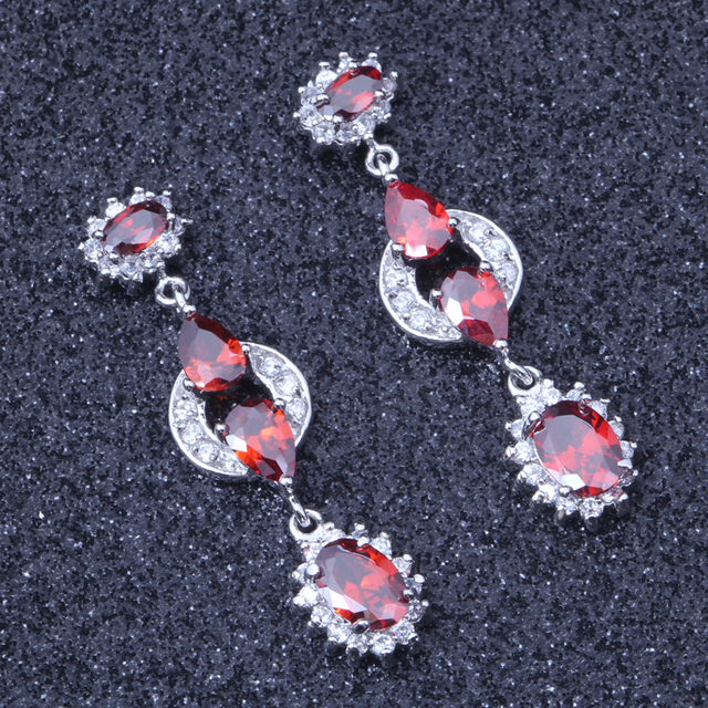 Free Shing Unusual Red Crystal Silver Colour Engagement Drop Earrings E402
