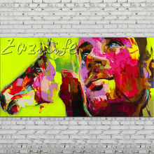 Palette knife portrait Face Oil painting Character figure canva Hand painted Francoise Nielly wall Art picture for living room51
