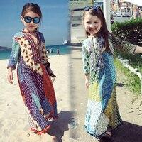 Bohemian Dress Family Matching Clothes Matching Mother Daughter Dresses For Girls Vestidos Print Beach Holidays Dress